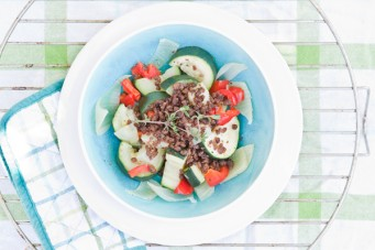 Zomerse groenteschotel gemixt met fijngehakt